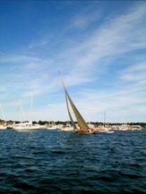12 meter sailing through the anchorage in Newport