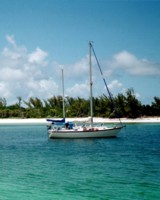A shot of Runaway, a Pearson 365, at Manjack Cay in the Abacos